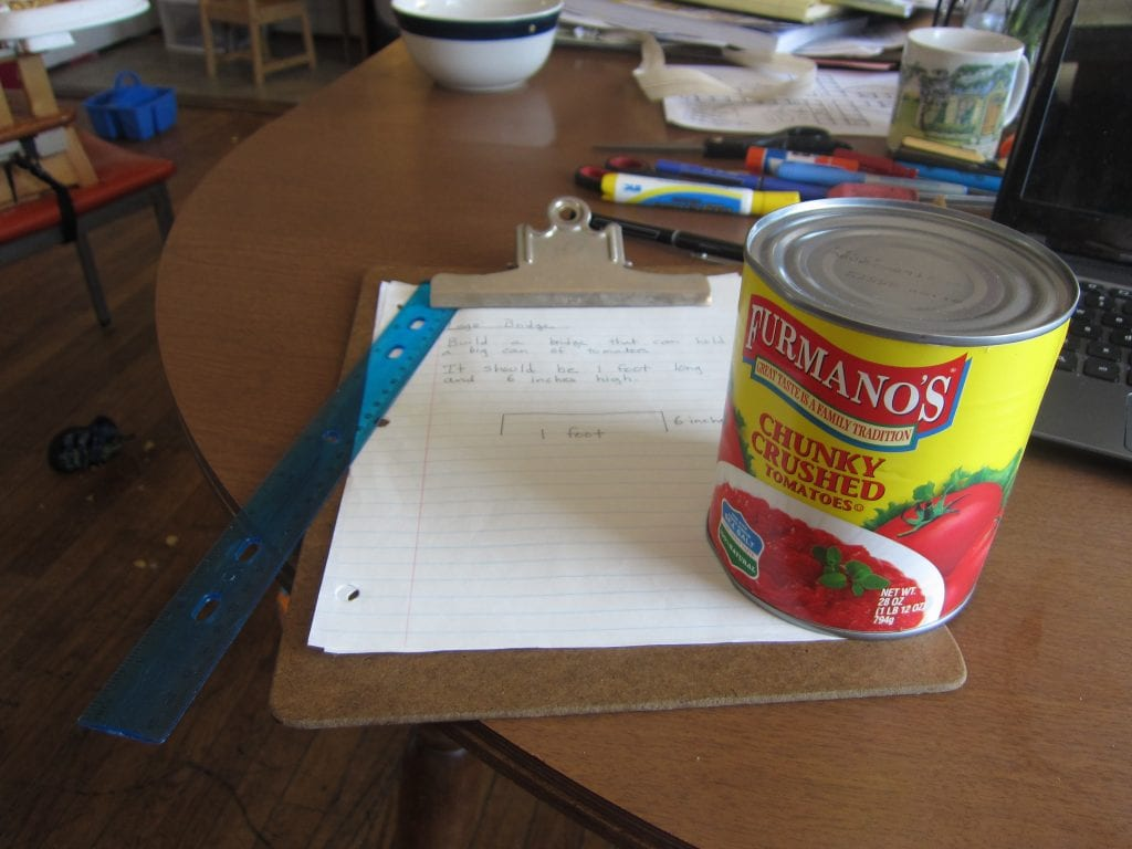 A can of tomatoes makes a good standard weight.