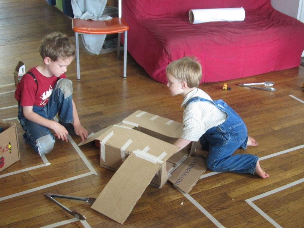 After the energy level was down somewhat we brought in a few boxes and used the maze as a road with a tunnel and parking garage.