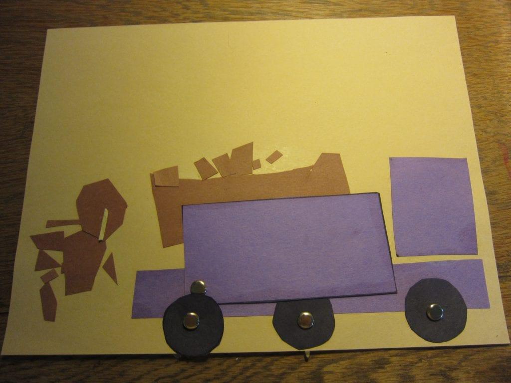 Paper dump truck at rest