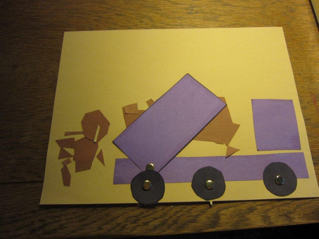 Paper dump truck dumping