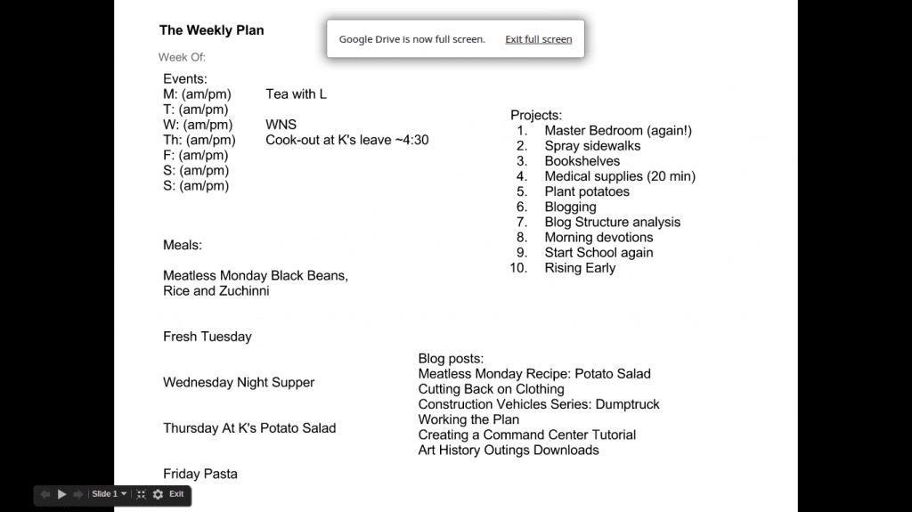 Weekly plan July 1