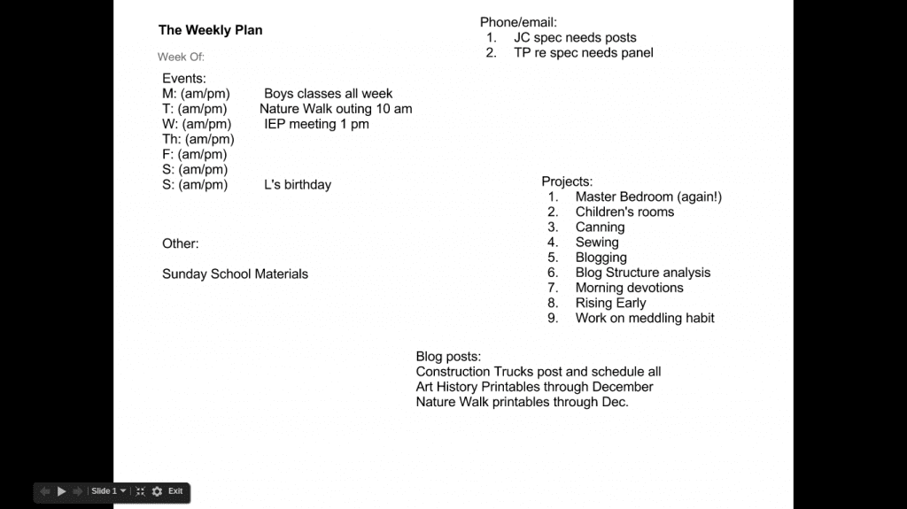The weekly plan July 16th