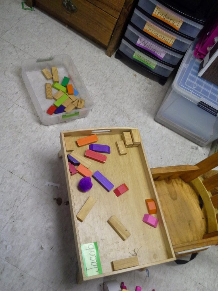 I FINALLY got a chance (seized one is more like it) to sort the blocks by type a la Froebel. We now have a set of rectangles for the little boys to experiment with. Later on I'll give them cubes and shapes derived from cubes, and cylinders and shaped derived from cylinders....