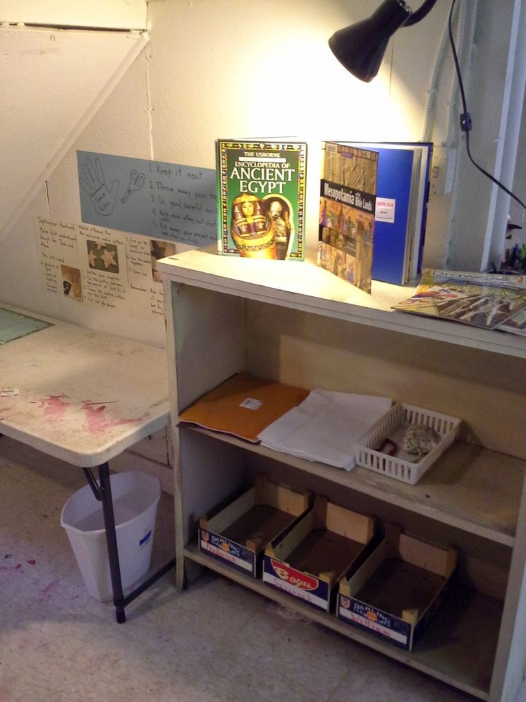 Cleaned up the old art center and re-purposed it specifically for  handwork and delving deeper into things we are studying (provocations and invitations).