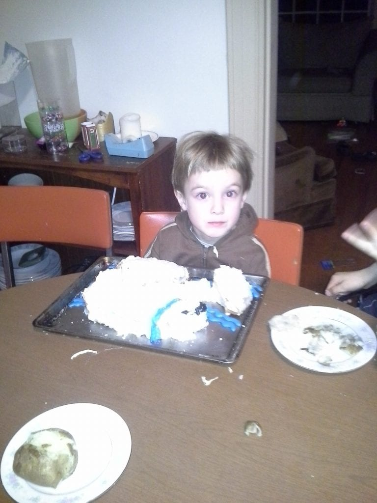 "And finally- a polar bear cake! He blew out the candle and said with great satisfaction "" Now I'm five!"""
