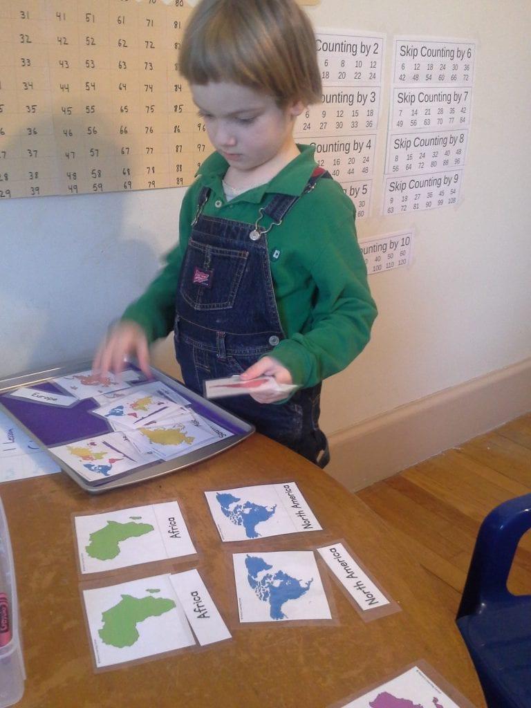 Montessori Continent Card Tray Work