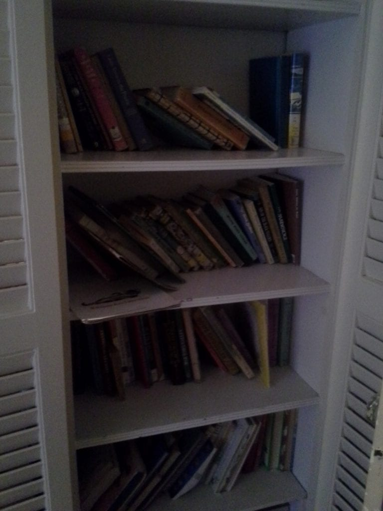 And finally the book closet in Mouse's bedroom. Most of the children's books live here although some have migrated to the closet on the other side of the room as I've attempted to keep certain subjects together and needed more room...